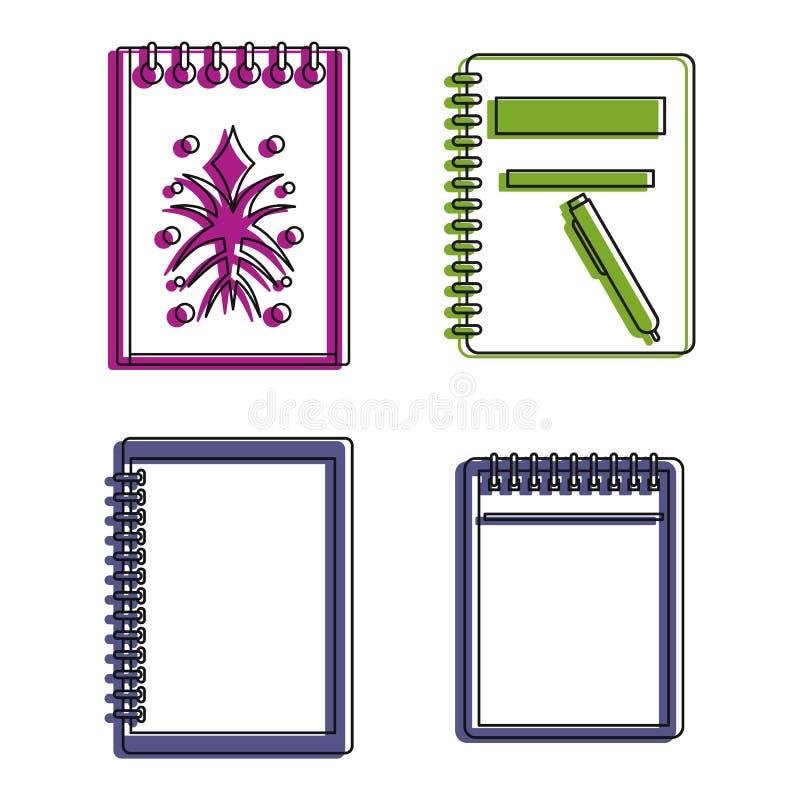 Skizzenbuch-Ikonensatz, Farbentwurfsart lizenzfreie abbildung