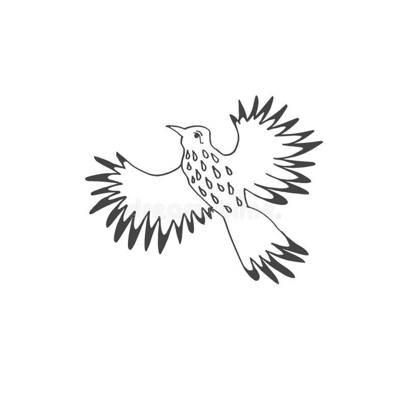 Skizzengekritzel-Ikonenzeichnung des tropischen Vogels des Fliegens vektor abbildung