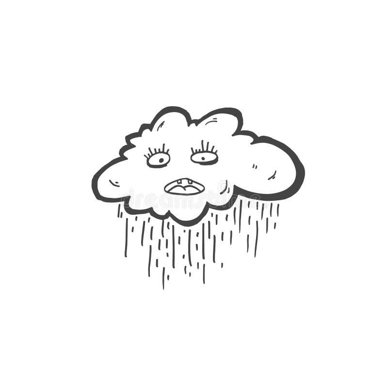 Skizzengekritzel-Zeichnungsikone der traurigen Wolke mit Regen, Vektor vektor abbildung