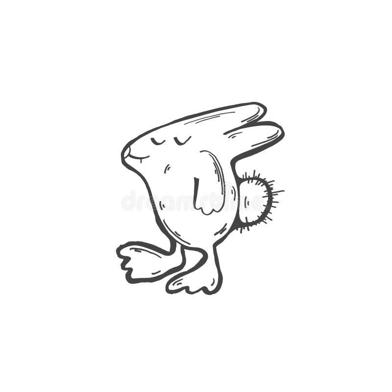 Skizzengekritzel-Zeichnungsikone von lustigen dummen Hasen vektor abbildung
