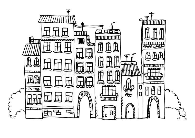 Skizzenillustration der lustigen Häuser stockfotografie