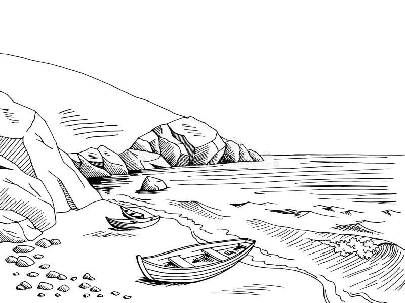 Skizzenillustration des Schwarzen der grafischen Kunst des Seebootes weiße Landschafts lizenzfreie abbildung