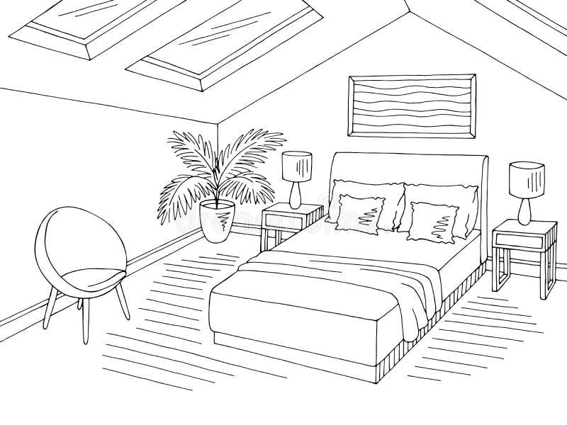 SKIZZENillustrationsvektor des Dachbodenschlafzimmerschwarzen weißes grafisches Ausgangsinnen lizenzfreie abbildung