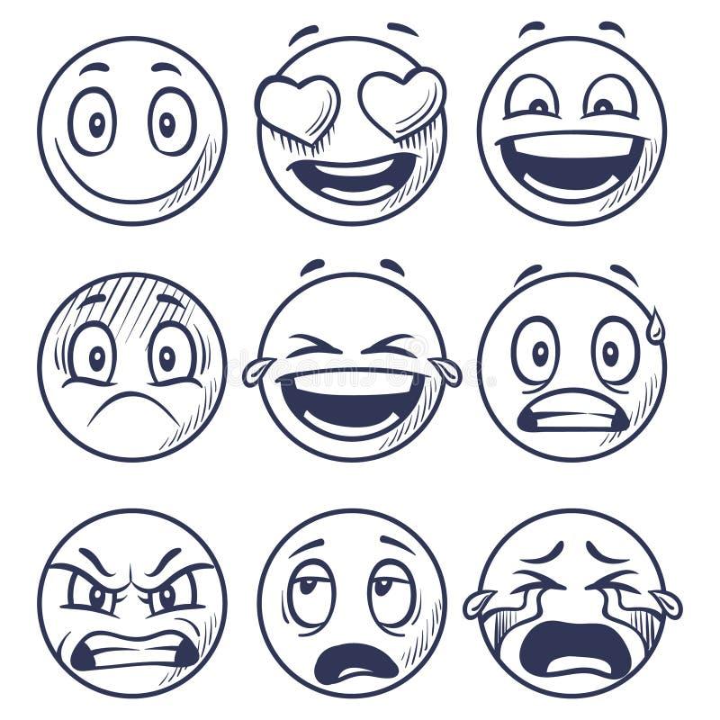 Skizzenlächeln Gekritzelsmiley in den verschiedenen Gefühlen Übergeben Sie gezogene lächelnde Gesichter, Emoticonsvektorsatz vektor abbildung