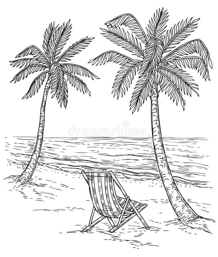 SkizzenPalmelandschaft Tropisches Palm Beach, exotische Bäume und Meereswellen Entspannungssommer des Weinlesehandzeichnungs-Vekt lizenzfreie abbildung