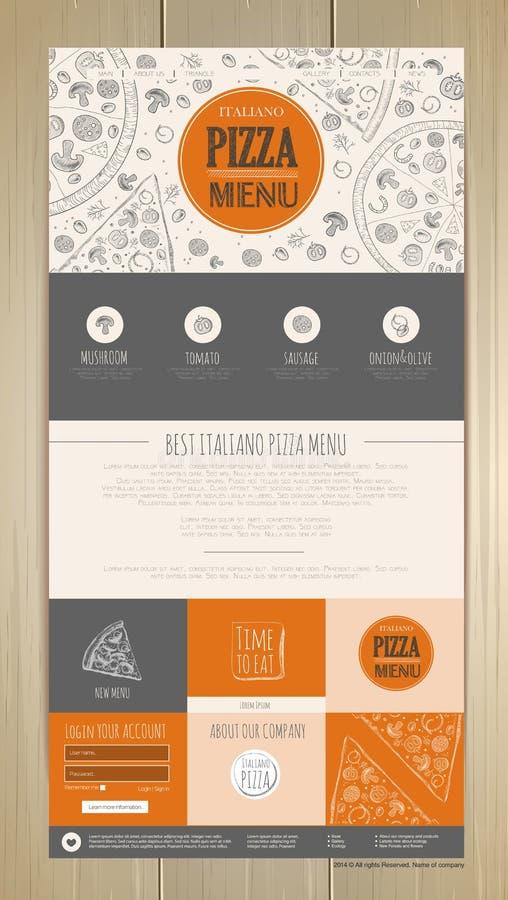 Skizzenpizzakonzept-Websitedesign Template für Geschäftsgestaltungsarbeiten stock abbildung