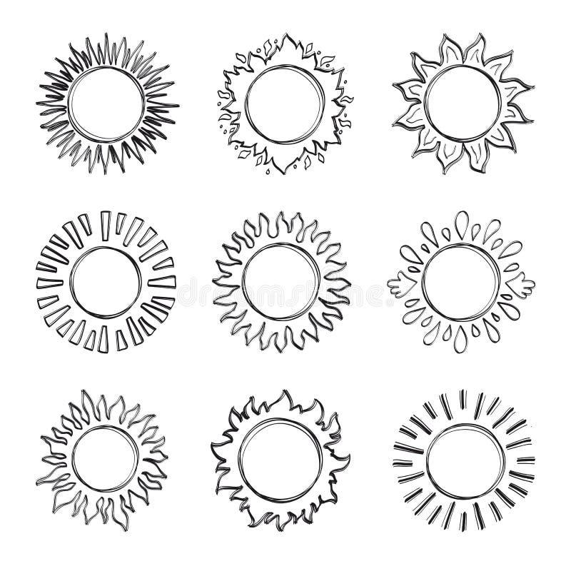Skizzensonne, Hand gezeichnete Sonnenscheinsymbole Nette Vektorgekritzelsonnen stock abbildung