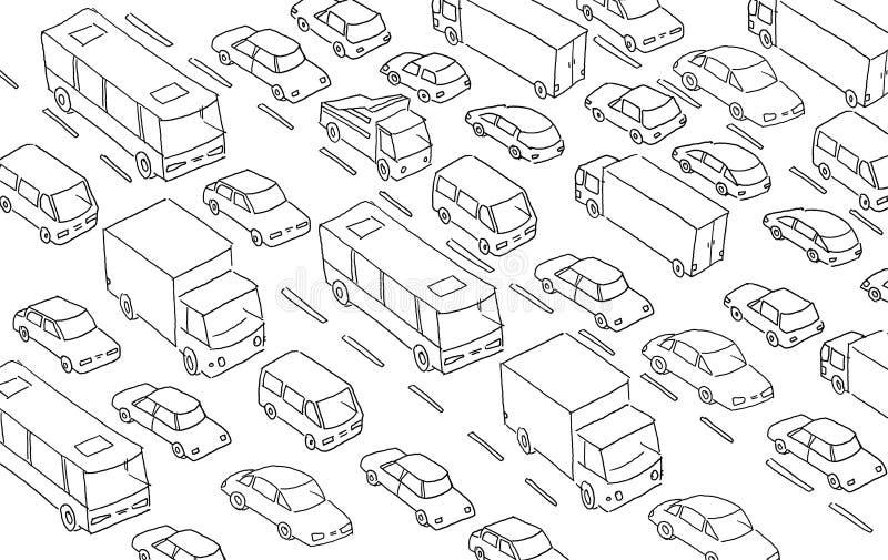 SkizzenStau-Autostecker-Transportlandstraße Hand gezeichnete schwarze Linie lizenzfreie abbildung