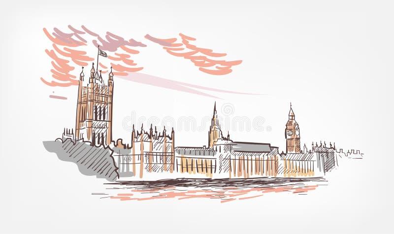 Skizzenvektorillustration London-Linie Aquarell bunt lizenzfreie abbildung