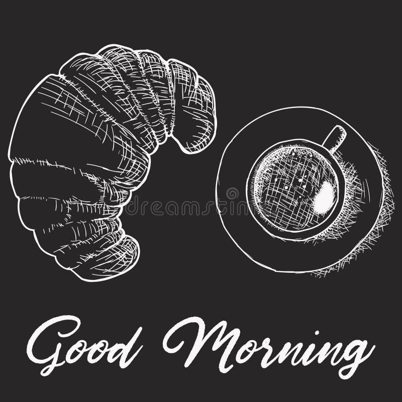 Skizzenzeichnung des französischen Frühstücks - Korb mit dem Hörnchen, Kaffeetasse, Erdbeere und Hand geschrieben, guten Morgen b lizenzfreie abbildung