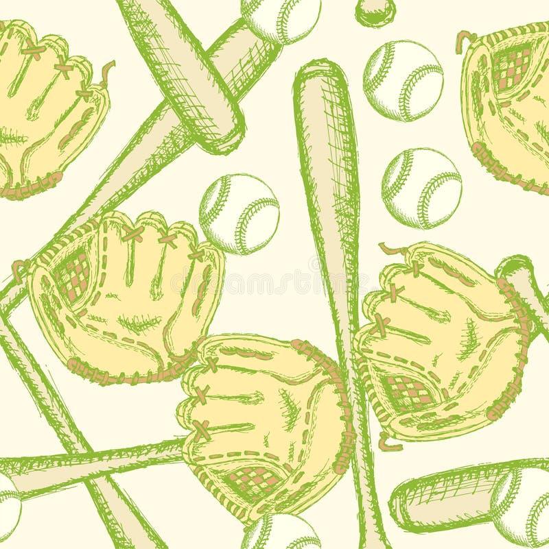 Skizzieren Sie Baseballball, Schläger-ANG-Handschuh, nahtloses Muster lizenzfreie abbildung