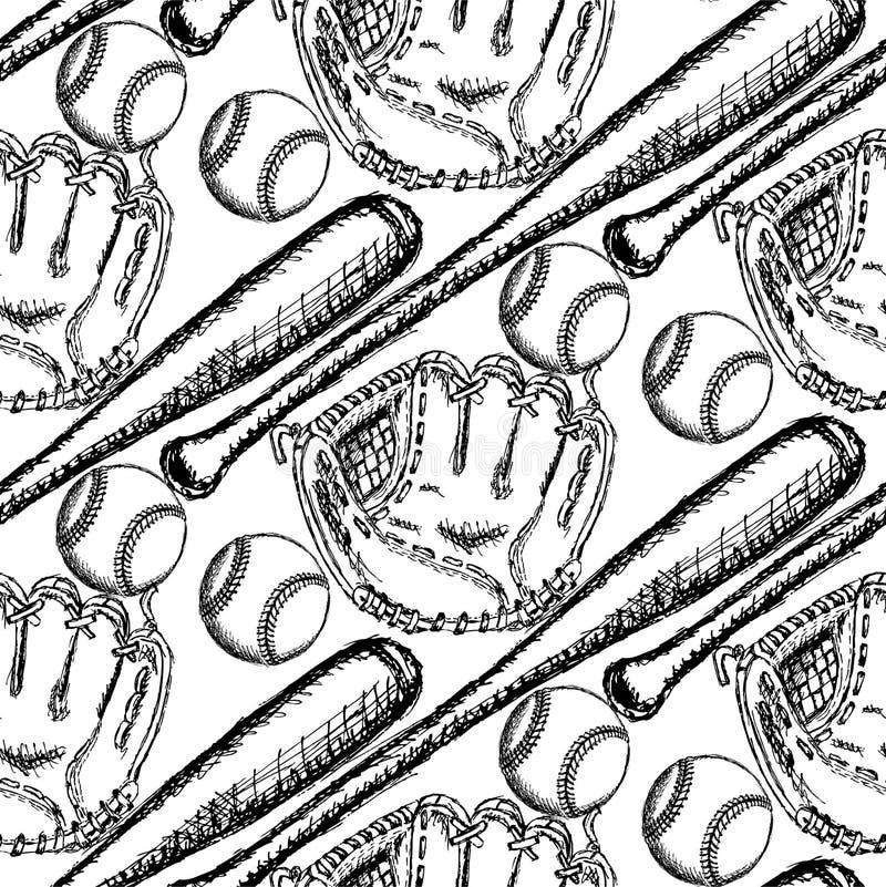Skizzieren Sie Baseballball, Schläger und Handschuh, nahtloses Muster vektor abbildung