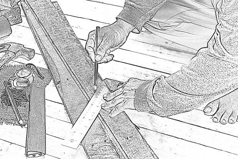 Skizzieren Sie den männlichen Tischler, der mit hölzernem Bleistift mit Maschinistquadrat am Arbeitsplatz arbeitet Hintergrundhan stockbild