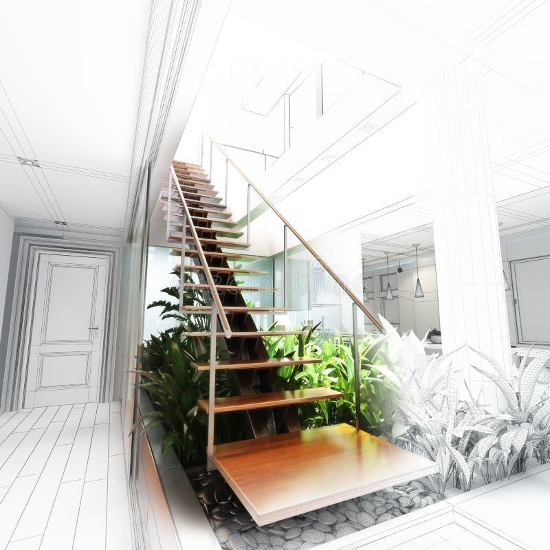 Skizzieren Sie Design einer Treppenhalle mit Atrium stock abbildung