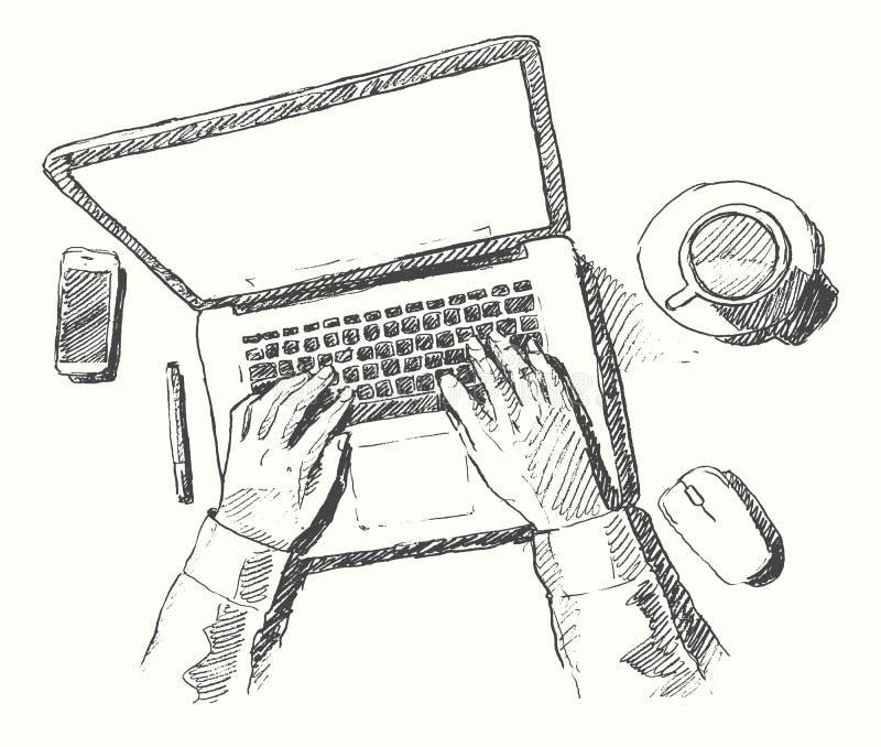 Schreibtisch skizze  Skizzieren Sie Die Gezeichnete Draufsicht Des Handcomputermann ...