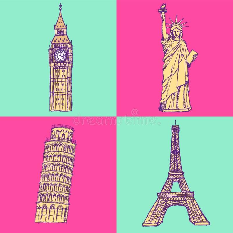 Skizzieren Sie Eifel-Turm, Pisa-Turm, Big Ben und Freiheitsstatuen, v stock abbildung