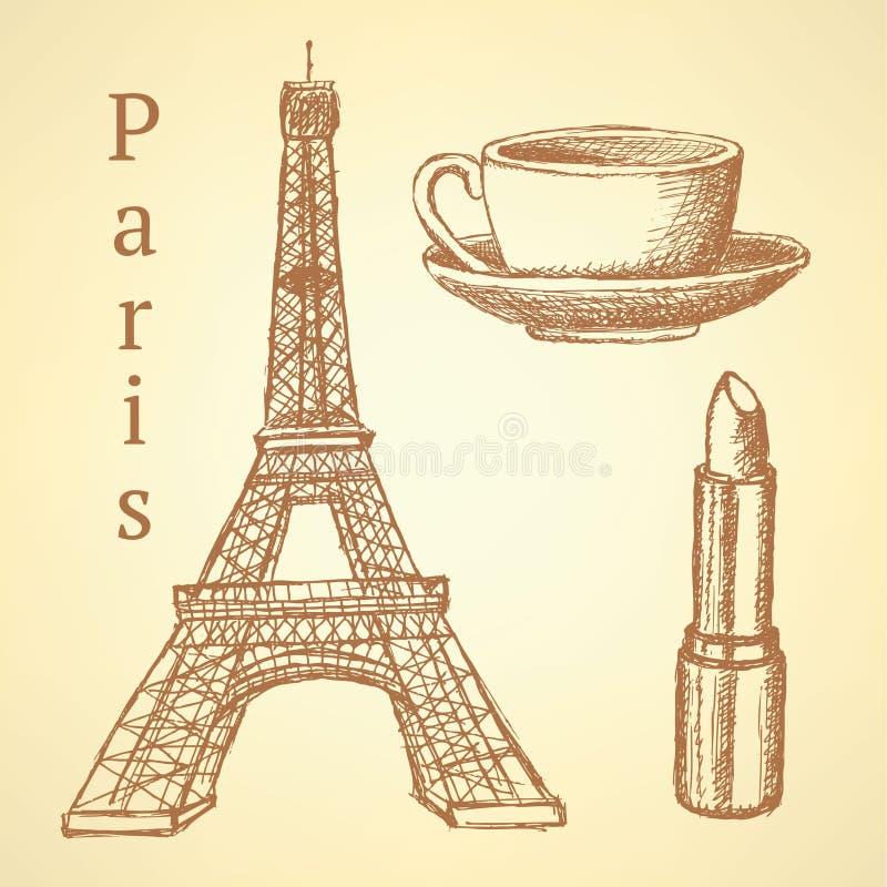 Skizzieren Sie Eiffelturm, Lippenstift und Schale, Vektorhintergrund stock abbildung