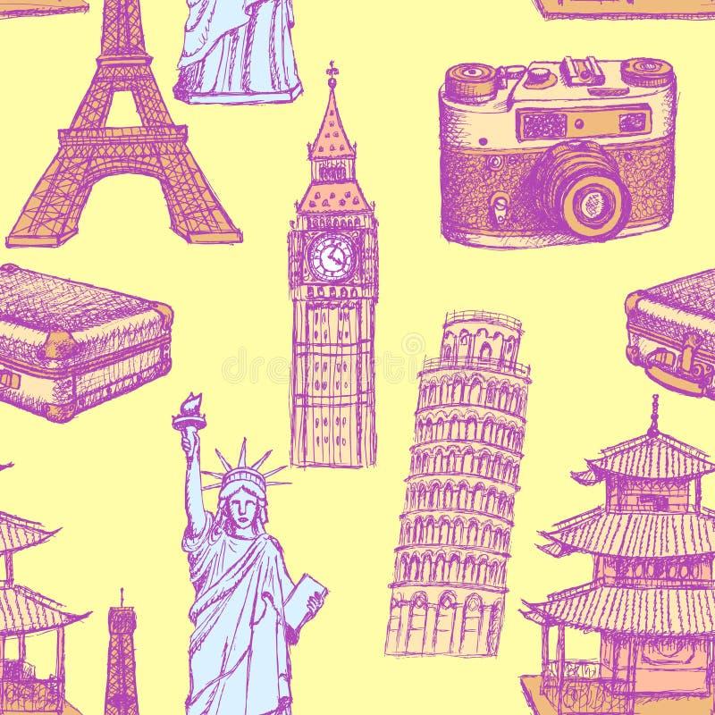 Skizzieren Sie Eiffelturm, Pisa-Turm, Big Ben, suitecase, photocamera stock abbildung
