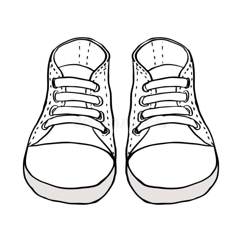 Skizzieren Sie Illustration von den Kinderschuhen, die auf Weiß lokalisiert werden stock abbildung