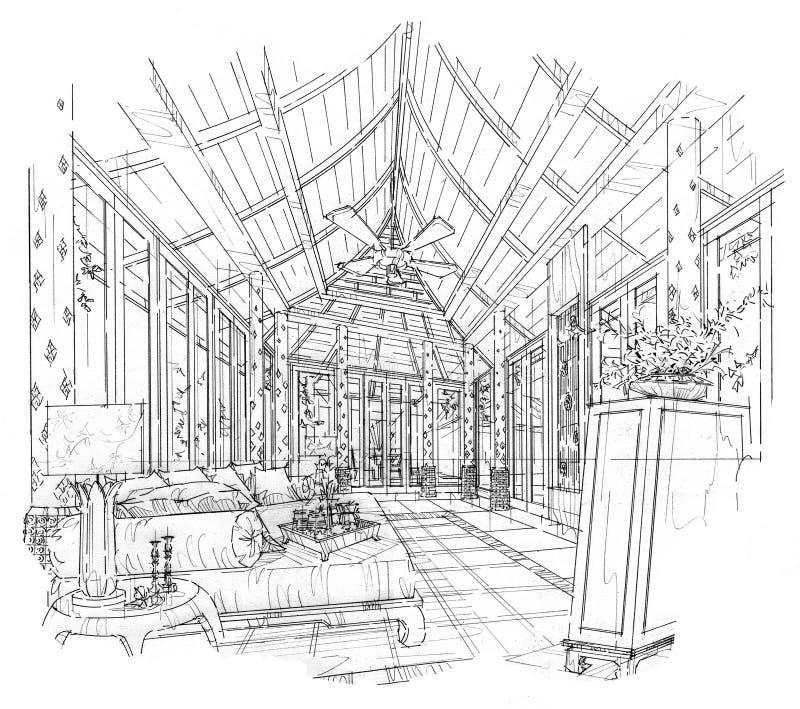 Download Skizzieren Sie Innenperspektivenwohnzimmer Schwarzweiss Innenarchitektur Stock Abbildung