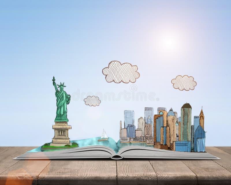 Skizzieren Sie New York City und das Freiheitsstatuen über offenem Buch lizenzfreie abbildung