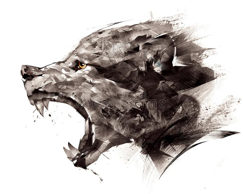 Skizzieren Sie Wolfwolf seitlich auf einem weißen Hintergrund lizenzfreie abbildung