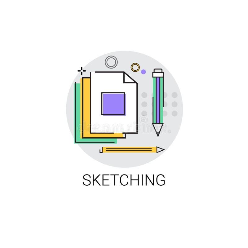 Skizzieren von Logo Application Design Graphic Development-Ikone lizenzfreie abbildung