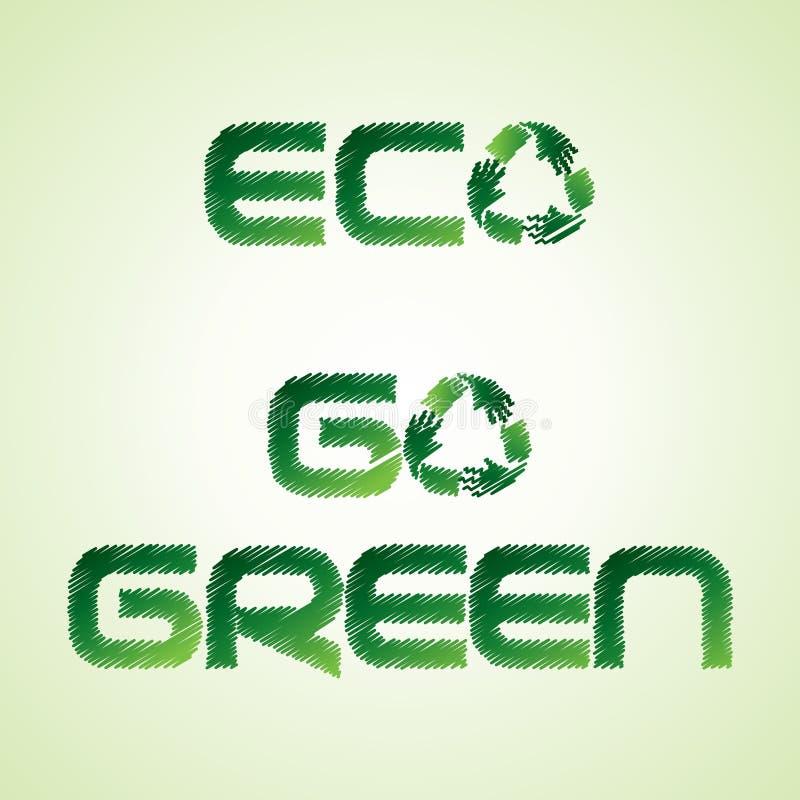 Skizziertes eco und gehen Wort machen vorbei, ico aufzubereiten grünes lizenzfreie abbildung