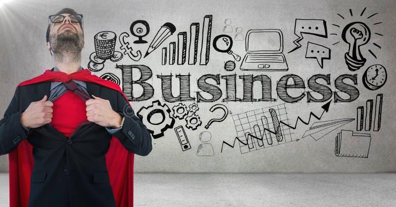 Skjorta för öppning för superhero för affärsman mot den gråa väggen med den affärsklotter och signalljuset stock illustrationer