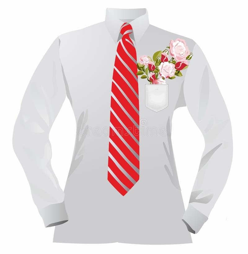 Skjorta och blommor stock illustrationer