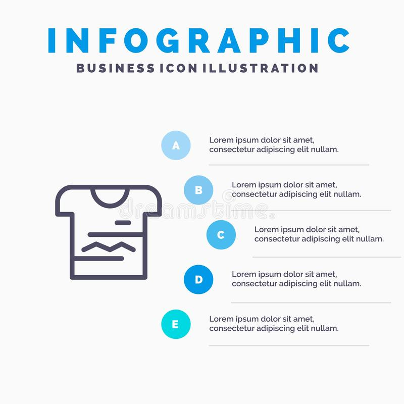 Skjorta Tshirt, torkduk, enhetlig linje symbol med för presentationsinfographics för 5 moment bakgrund royaltyfri illustrationer