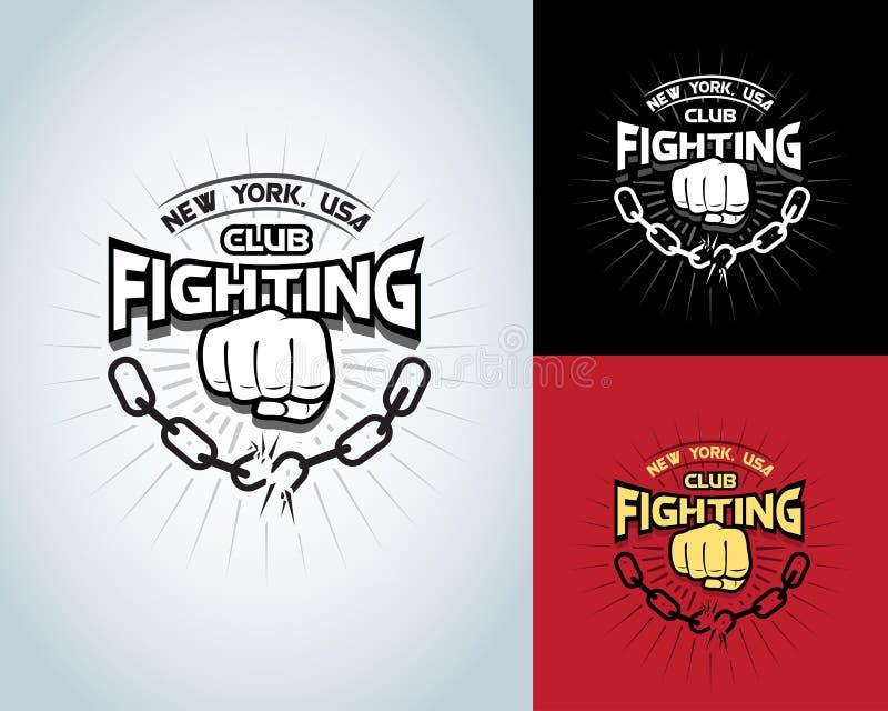 Skjortadesign för stridighet t, logotyp, monokrom etikett för boxning, emblem, logo för hipsterreklamblad, affisch eller t-skjort vektor illustrationer