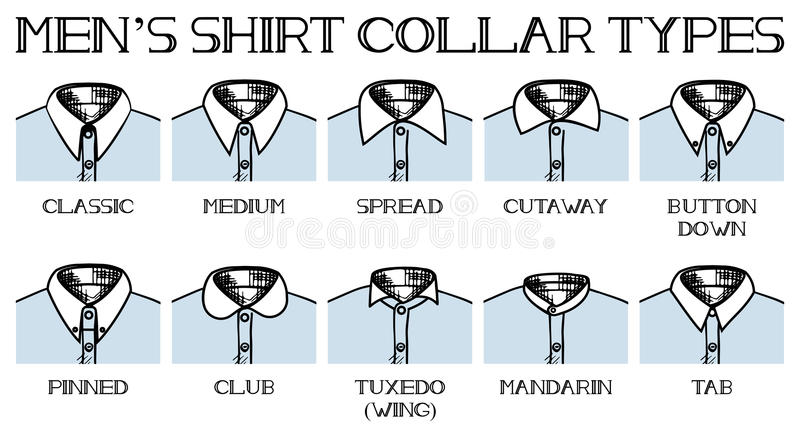 Skjortakragetyper vektor illustrationer