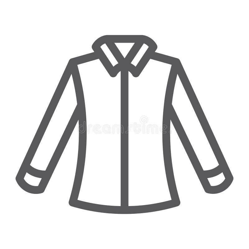 Skjortalinje symbol som beklär och som är formell, blustecken, vektordiagram, en linjär modell på en vit bakgrund royaltyfri illustrationer