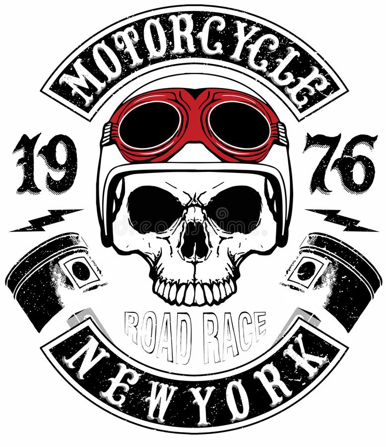 Skjortamotorcykel Logo Graphic Design för skalle T stock illustrationer