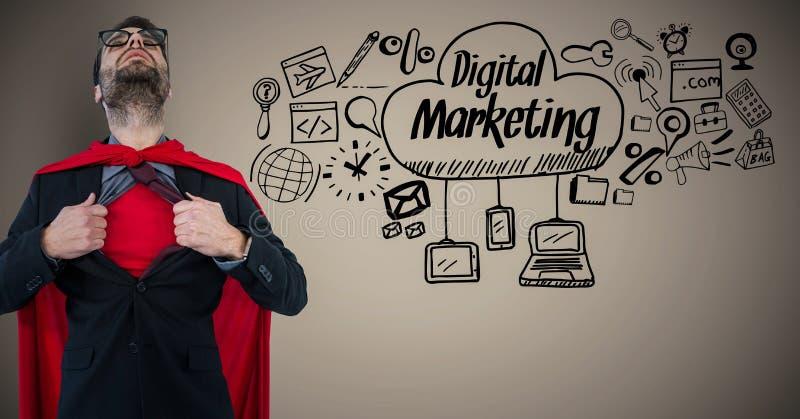Skjortan för öppningen för superheroen för affärsmannen mot brun bakgrund med digital marknadsföring klottrar stock illustrationer