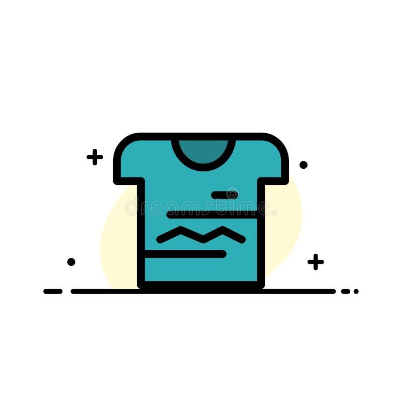 Skjortan tshirten, torkduk, den plana linjen för den enhetliga affären fyllde mallen för symbolsvektorbanret stock illustrationer