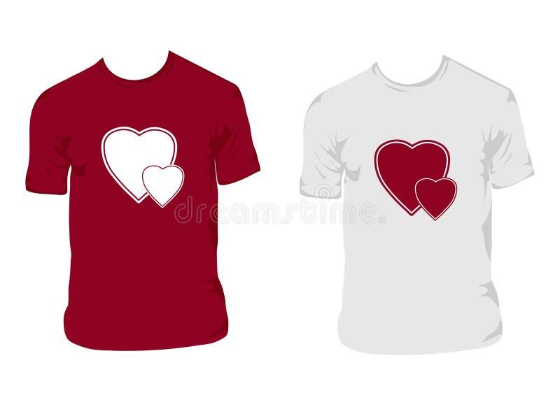 skjortavektor för 2 förälskelse stock illustrationer