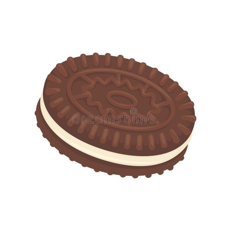 Skjuta in chocoatekexet som fylls med vannilakräm som isoleras på vit vektor illustrationer