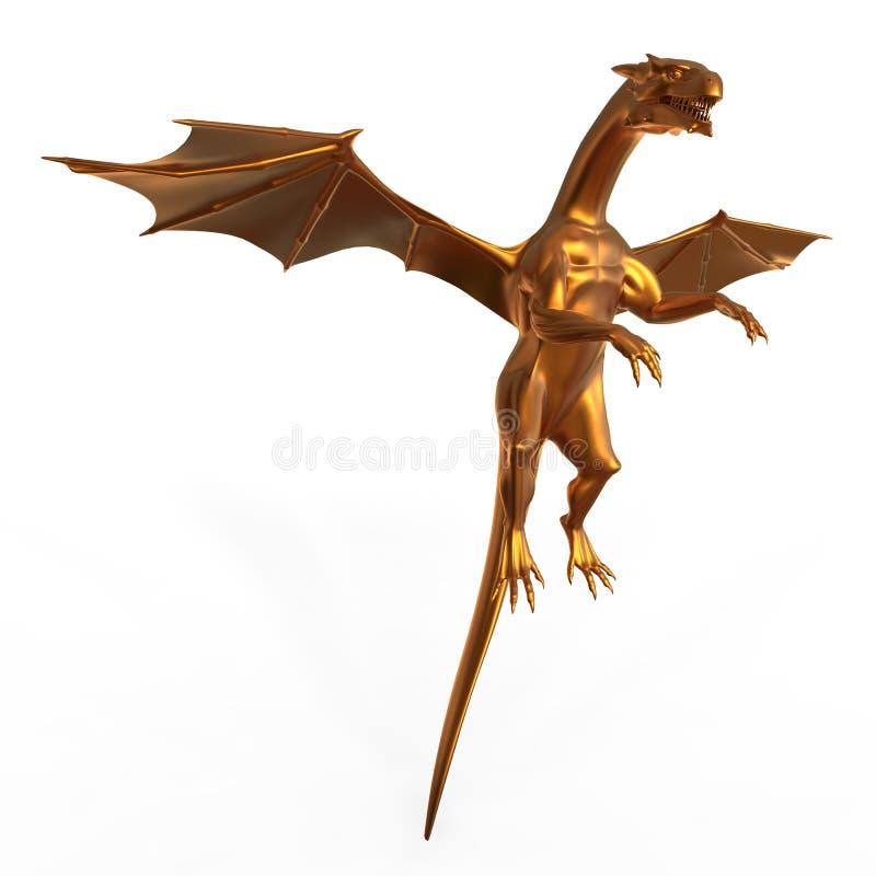 Skjuta i höjden den guld- draken stock illustrationer
