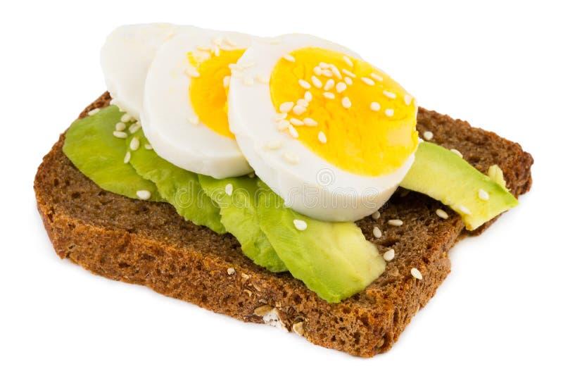 Skjuta in med avokadot och det kokta ägget som isoleras på vit arkivbilder