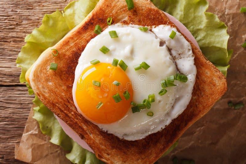 Skjuta in med det stekte ägget, skinka, lökar och nära övre för ost horizo arkivbild