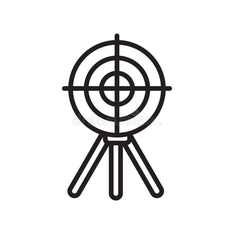 Skjuta tecknet och symbolet för målsymbolsvektor som isoleras på vit bakgrund som skjuter mållogobegrepp, översiktssymbol som är  vektor illustrationer