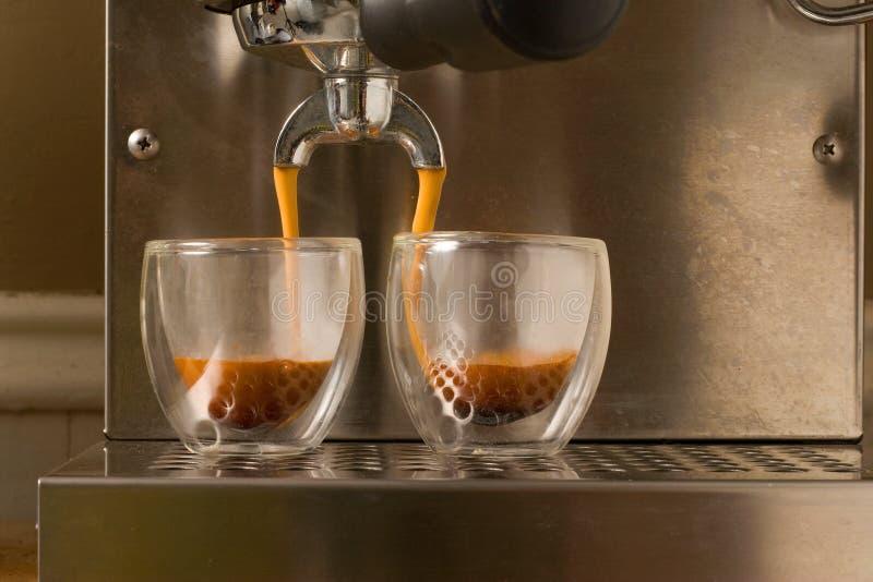 skjuten dubbel espresso arkivfoton
