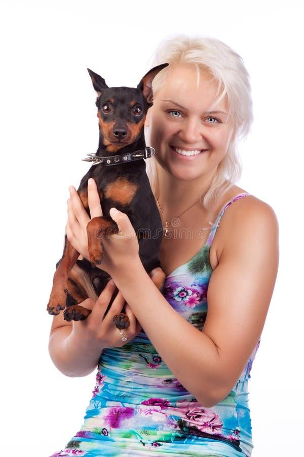 skjuten studio för hund ägare royaltyfria bilder