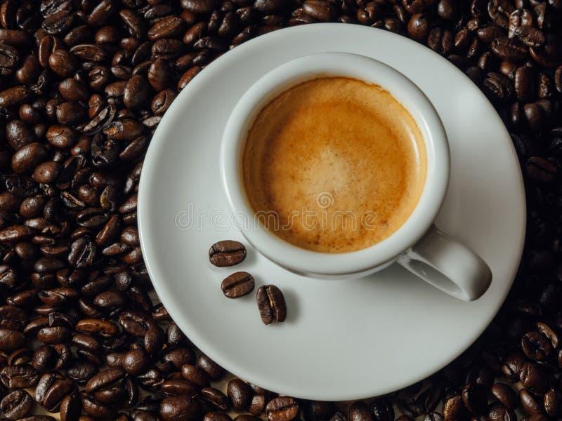 Skjutit av espresso på kaffebönor arkivbild