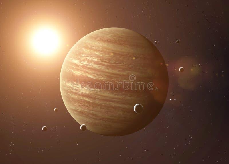 Skjutit av Jupiter som tas från öppet utrymme collage arkivfoto