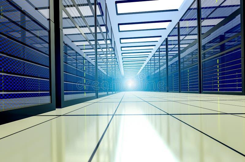 Skjutit av korridoren i funktionsduglig datorhall mycket av kuggeserveror och Supercomputers Punkt av sikten 3d framf?r stock illustrationer