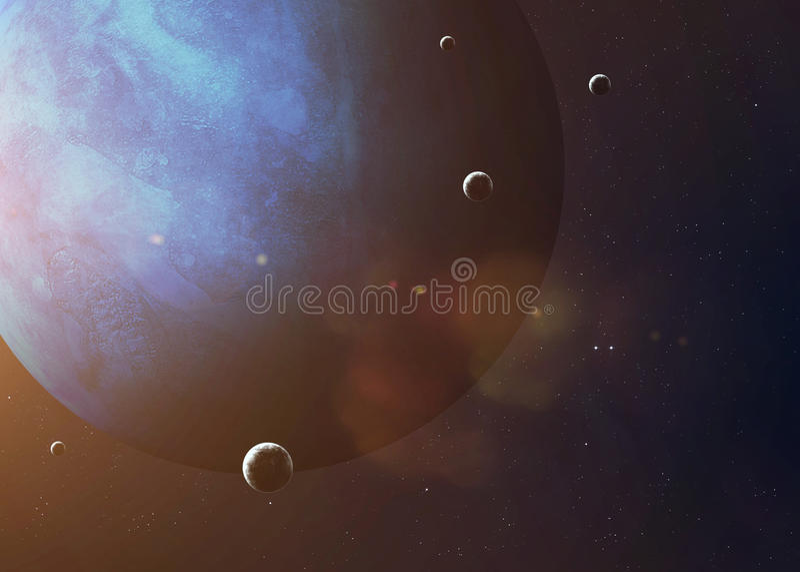 Skjutit av Neptun som tas från öppet utrymme collage fotografering för bildbyråer