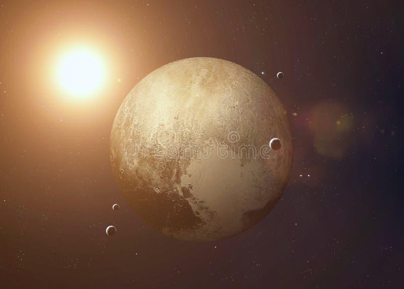 Skjutit av Pluto som tas från öppet utrymme collage fotografering för bildbyråer